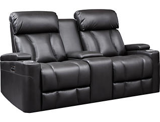 Jolt Black Dual Power Reclining Console Loveseat, Black, large