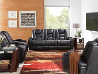 Matrix Black Power Reclining Sofa, Black, large