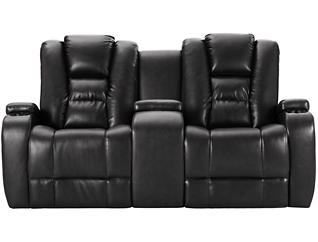 Matrix Power Recl Loveseat, Black, large