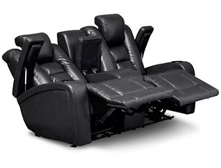 Matrix Power Reclining Console Loveseat, Black, Black, large