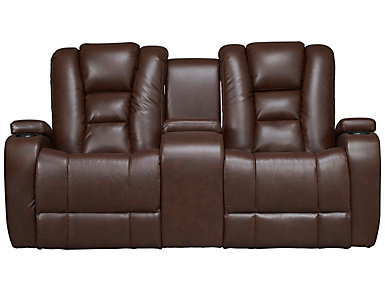 Matrix Power Reclining Console Loveseat, Brown, large