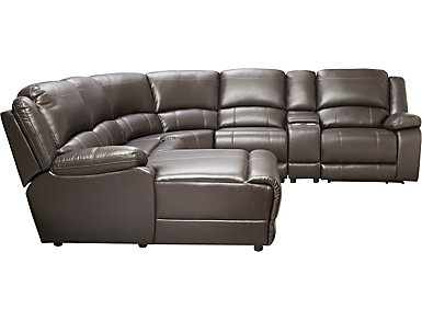 Wyatt 6 Piece Reclining Left-Arm Facing Chaise Sectional, Chocolate, , large