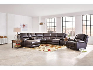Wyatt 6 Piece Left-Arm Facing Chaise Reclining Sectional, , large