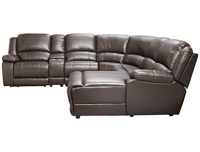 Wyatt 6 Piece Reclining Right-Arm Facing Chaise Sectional, Chocolate, , large