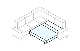 White sectional diagram with sofa bed highlighted in blue