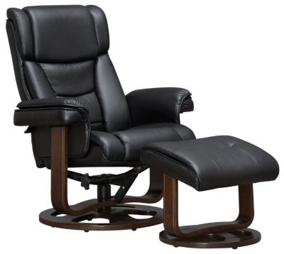 Apollo Reclining Chair and Ottoman, Black, swatch