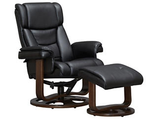 Apollo Reclining Chair and Ottoman, Black, Black, large