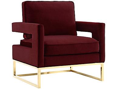 Avery Velvet Chair, Black, Burgundy, large