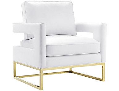 Avery Velvet Chair, Black, White, large