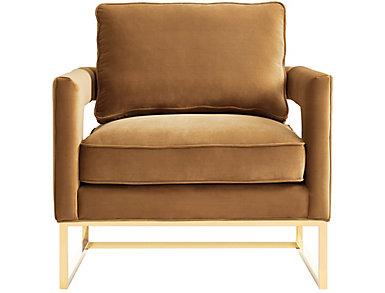 Avery Velvet Chair, Black, Brown, large
