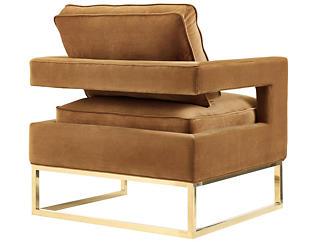 Avery Cognac Velvet Chair, Brown, large