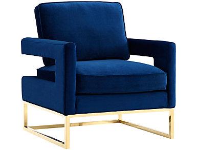 Avery Velvet Chair, Black, Blue, large