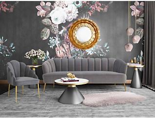 Daisy Grey Velvet Chair, Grey, large