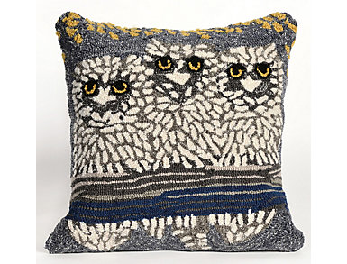 """Frontporch Owls Pillow 18"""" SQ, , large"""