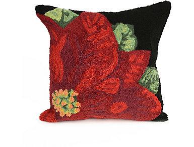 """Poinsettia Pillow 18"""" Square, , large"""