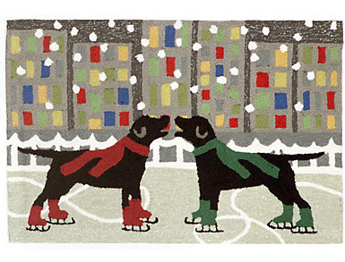 Holiday Ice Dogs Indoor Outdoor Rug 20x30, , large