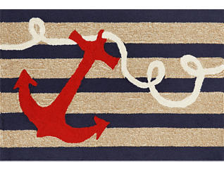 "Anchor 24""X36"" Navy Doormat, , large"