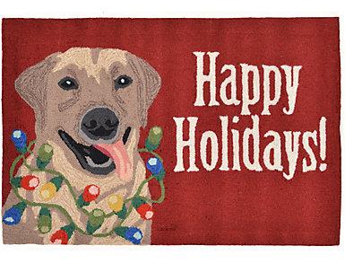 Happy Holidays Indoor Outdoor Rug 24x36, , large