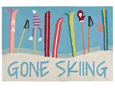 Gone Skiing Indoor Outdoor Rug 24x36, , large
