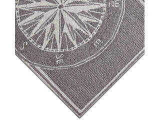 Compass Grey 5' Round Rug, , large