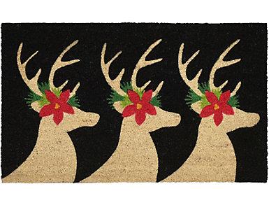 "Deer Outdoor Mat Black 18""X30"", , large"