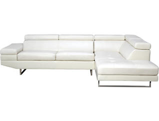 Palm 2 Piece Sectional with Right-Arm Facing Chaise, White, White, large