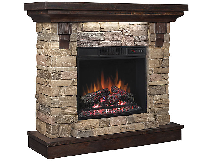 Weston Faux Stone Fireplace Aged Coffee Art Van Home