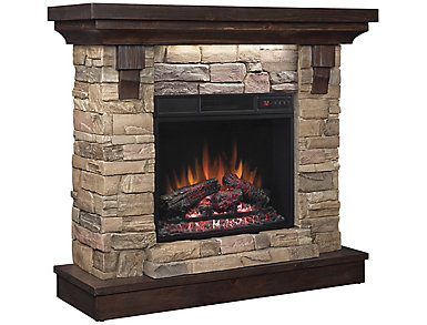 Weston Faux Stone Fireplace, Aged Coffee, , large