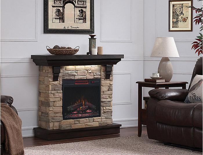 Weston Faux Stone Fireplace, Aged Coffee, , large