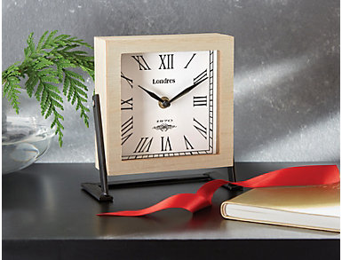 Wood and Metal Table Clock, , large