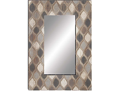 Wood Trellis Print Wall Mirror, , large