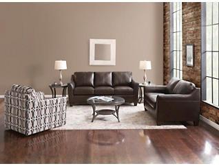 Deco Bark Leather Loveseat, , large