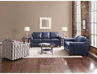 Deco Shale Leather Loveseat, Blue, large