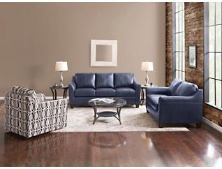 Deco Shale Leather Sofa, Blue, large