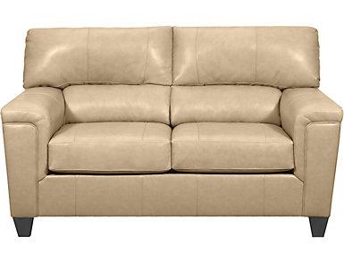 Chroma Putty Leather Loveseat, , large