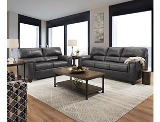 Chroma Fog Leather Sofa, Fog, large