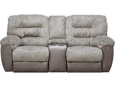 Skylar Charcoal Manual Reclining Console Loveseat, , large