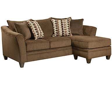 Albany Truffle Sofa Chaise, Chestnut, large