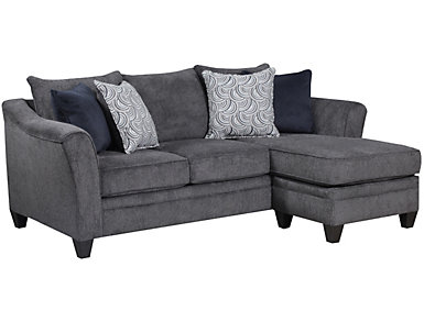 Albany Truffle Sofa Chaise, Pewter, large