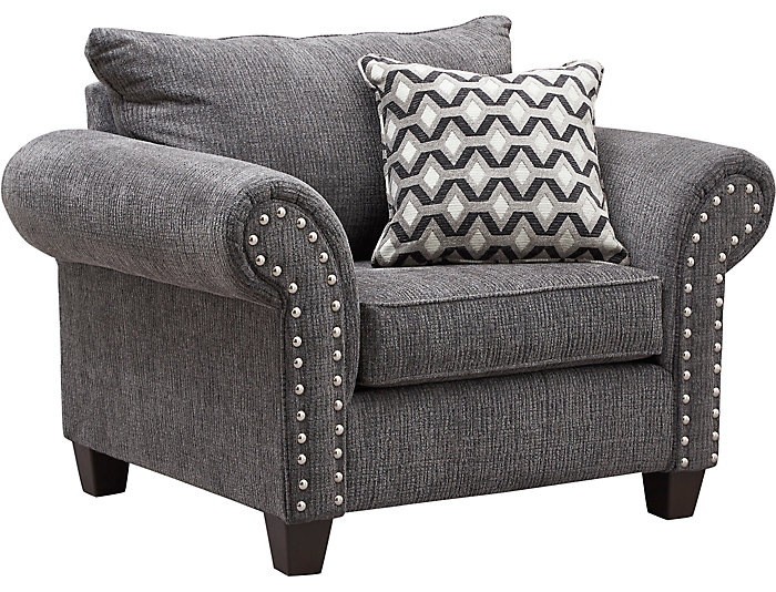 ... Metro Charcoal Chair And A Half, Grey, , Large ...