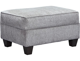 Reed Grey Storage Ottoman, , large