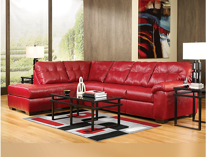 Soho Ii 7 Piece Left Arm Facing P Chaise Sectional Red