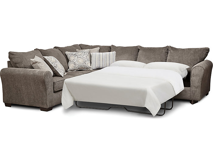 Harlow Ash 2 Piece Sleeper Sectional | Outlet at Art Van