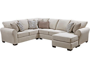 Harlow 2 Piece Sleeper Sectional with Right-Arm Facing Chaise, Beige, , large
