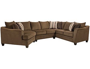 Albany Chesnut 3 Piece Sectional, Chestnut, large