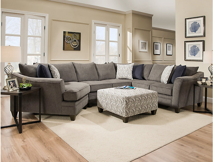 Awesome Albany Pewter 3 Piece Sectional Outlet At Art Van Beatyapartments Chair Design Images Beatyapartmentscom