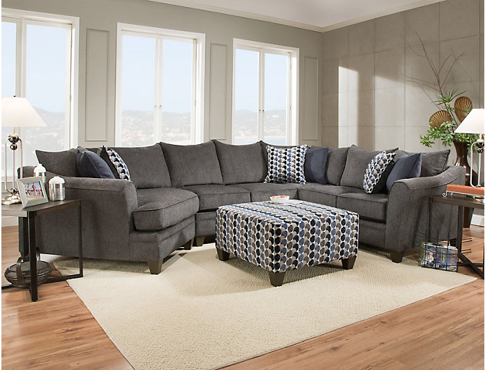 Groovy Albany Slate 3 Piece Sectional Outlet At Art Van Ocoug Best Dining Table And Chair Ideas Images Ocougorg