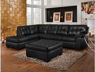 Soho II Onyx 2 Piece Sectional with Left-Arm Facing Chaise, , large