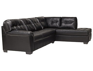 Soho II 2 Piece Right Arm Facing Bump Chaise Sectional, Onyx, ,