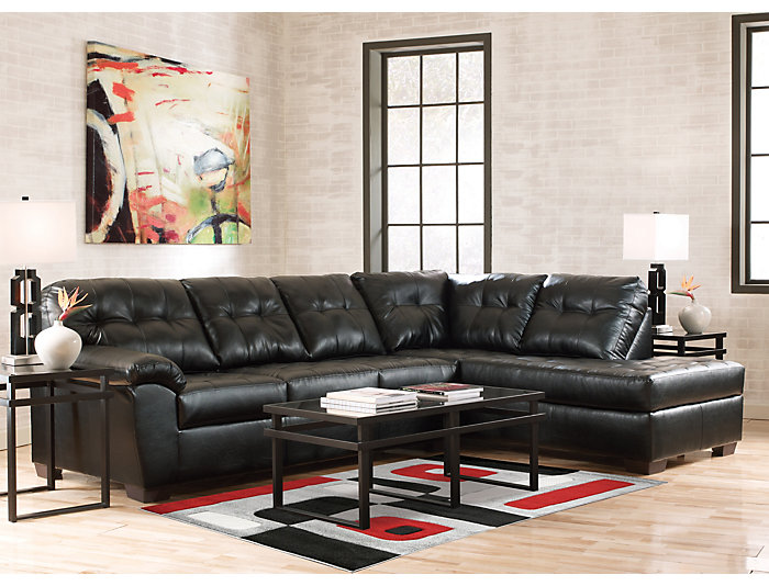 Soho II Onyx 2 Piece Sectional with Right-Arm Facing Chaise, , large